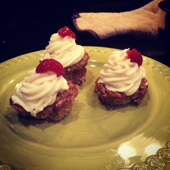 "My mom made meatloaf ""cupcakes"" for me.  That is mashed potato frosting!!"