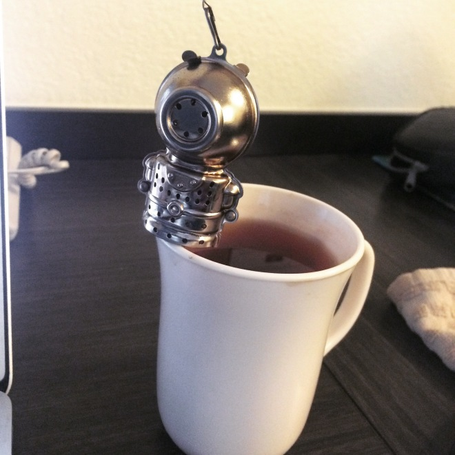 My Deep Diver tea steeper having a dip.